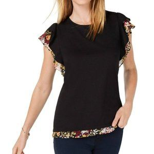 3/$45 Maison Jules Floral Ruffled Blouse Top